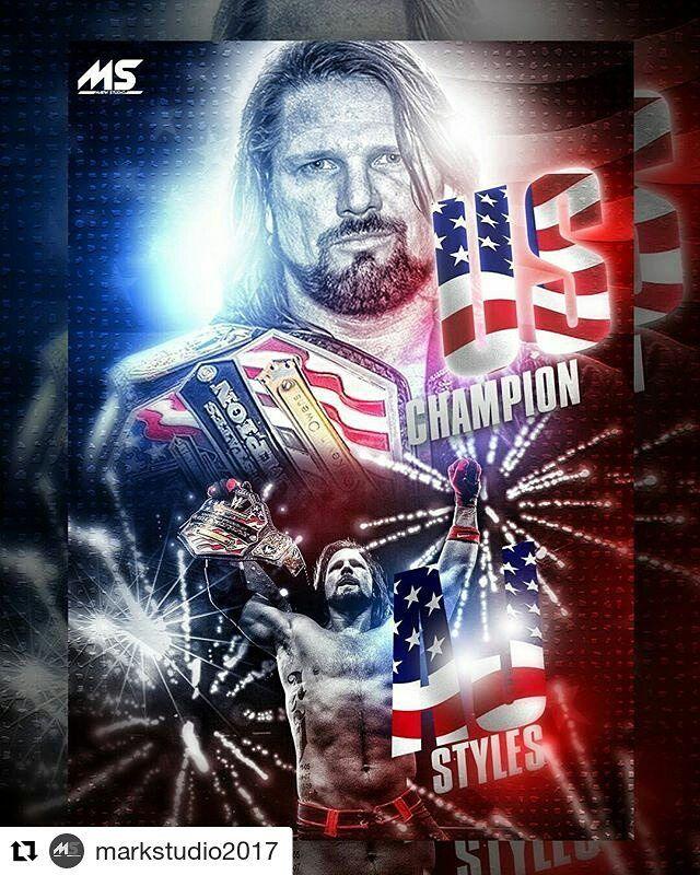 """26 Me gusta, 1 comentarios - Santi Campos Cabrera (@santicampos40) en Instagram: """"#Repost @markstudio2017 (@get_repost) ・・・ #WWE AJ Styles - US Champion Poster  #WWE  #RAW  #SDLive…"""""""