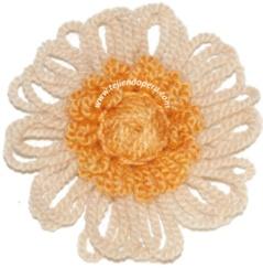 Flores tejidas en telar redondo tipo reloj