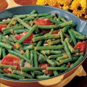 Spanish String Beans Recipe -I always plant green beans in my garden because they're so easy to grow. I found this recipe years ago and have made it often. It's so simple to prepare.