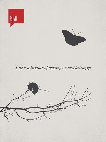 """life is a balance of holding on and letting go"" - Illustration depicts a caterpillar holding on to a branch which will inevitably become the butterfly sailing above... minimalist print by Ryan McArthur"
