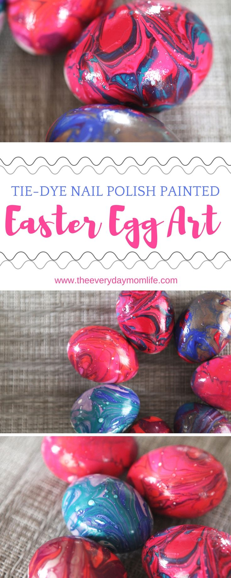 Eggcellent Tie-Dye Nail Polish Easter Eggs The Whole Family Will Love! Do this easy, Easter craft with kids in elementary school, middle school and even high school! This produces stunning results each time!
