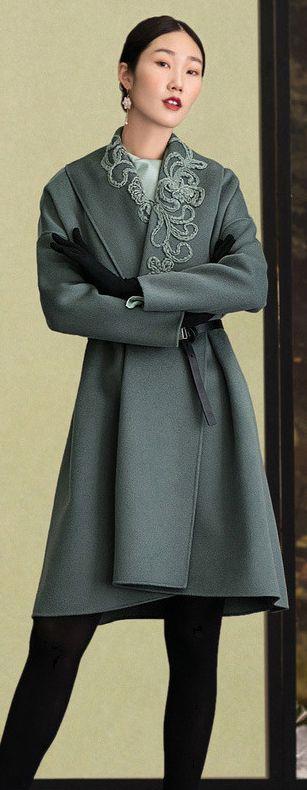 Fashion army green Woolen Coats Women plus size embroidery Winter coat long sleeve woolen outwear 5