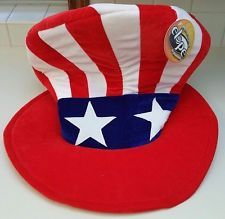 NWT Adult 4th July Patriotic Deluxe Uncle Sam USA Red White Blue Costume Top Hat