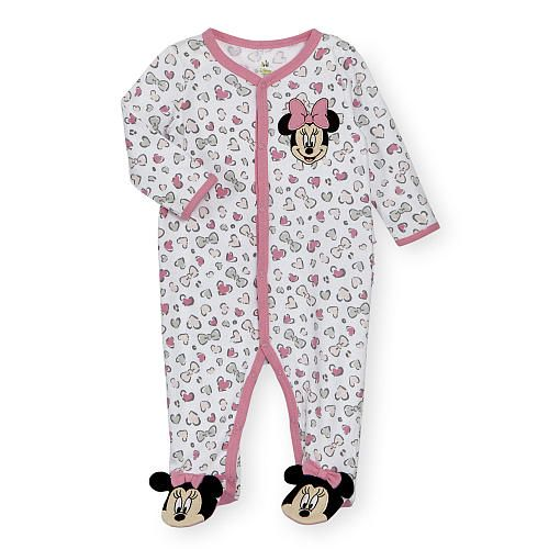 She'll be dressed to impressed in this snuggly footie that showcases Disney charm. An all-over heart and bow print in cheerful hues enlivens every inch of this piece, and pure…