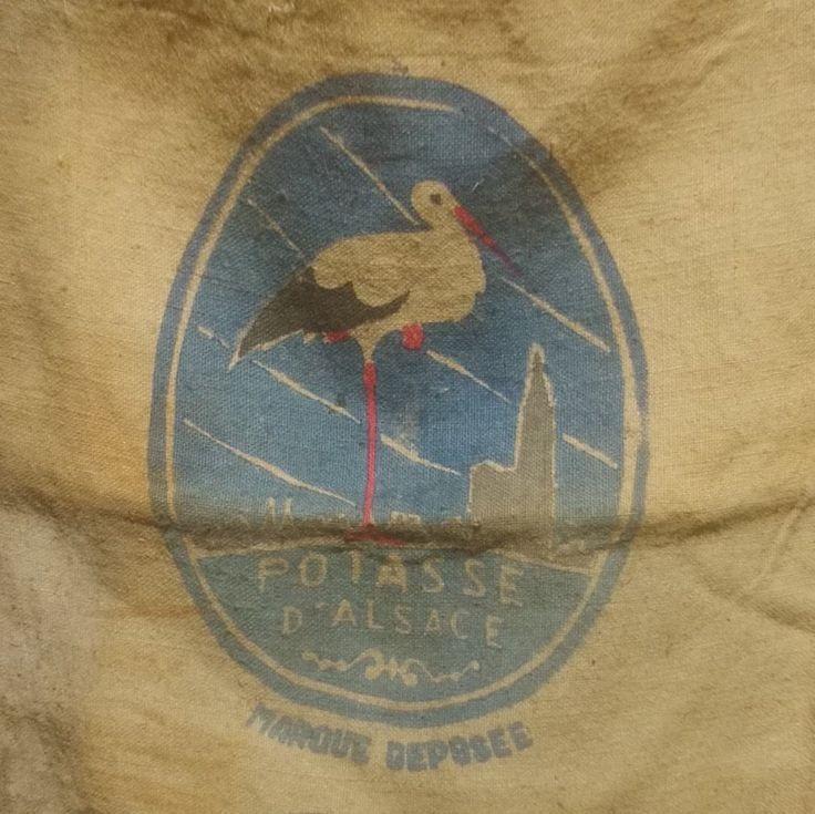 Hessian / Burlap / Jute Sack with Potasse d'Alsace Stork Motif, Vintage French by UneChoseFrancaise on Etsy