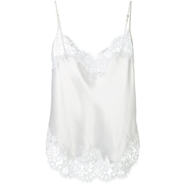 Givenchy White Silk Cami ($1,130) ❤ liked on Polyvore featuring tops, shirts, tanks, white tank top, white silk cami, silk tank, white singlet and silk camisole tops