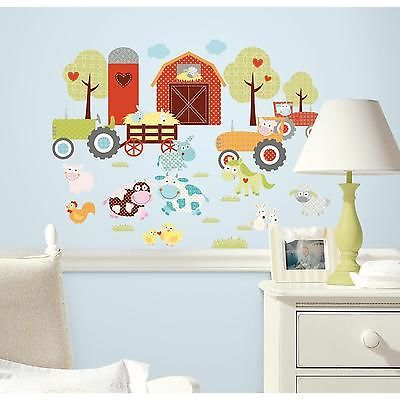 happi barnyard wall stickers 42 decals pigs cows farm animals tractor room decor - Kinderzimmer Dekoration In Schulen