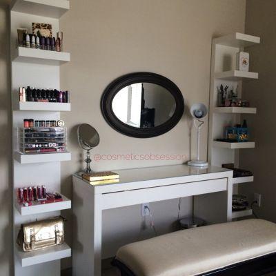 Makeup Storage and Organization: Ikea Lack Shelf Unit & Malm dressing table | CosmeticsObsession