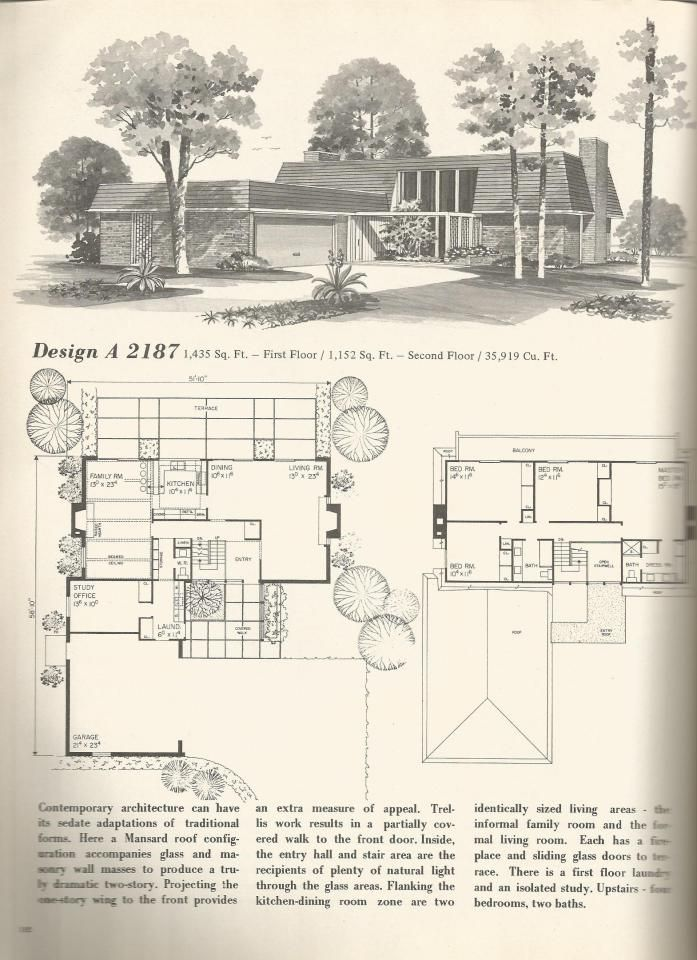 70s vintage house plans mid century homes vintage house for Www home plans com