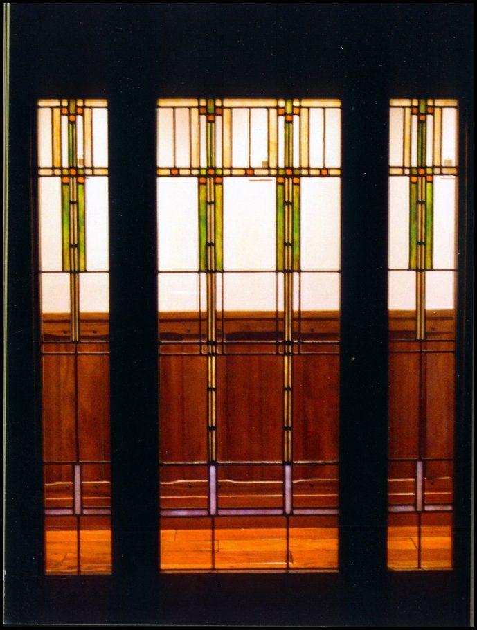 Frank Lloyd Wright inspired leaded glass window -- Heart of Oak Workshop