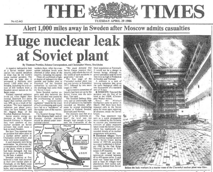 1986 In the early hours of 26 April , one of four nuclear reactors at the Chernobyl power station exploded.Moscow was slow to admit what had happened, even after increased radiation was detected in other countries.The lack of information led to exaggerated claims of the number killed by the blast in the immediate area. Contamination is still a problem,