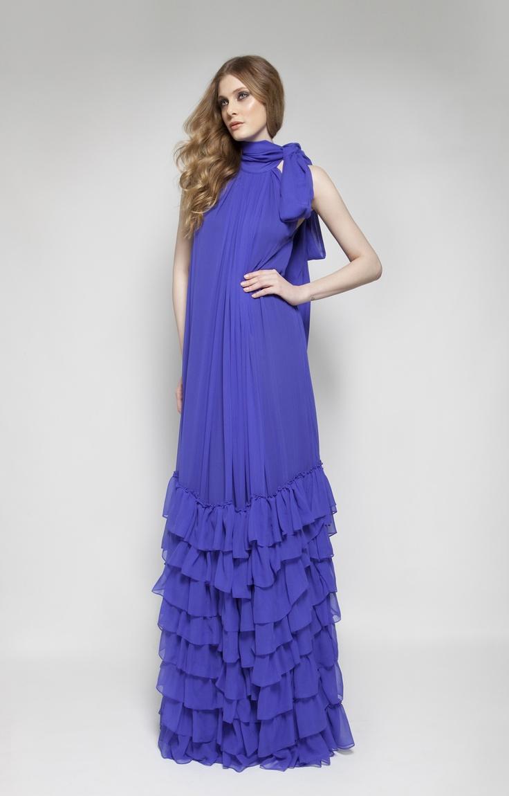 CHRISTOS COSTARELLOS AW 12-13 Silk Chiffon Maxi Dress