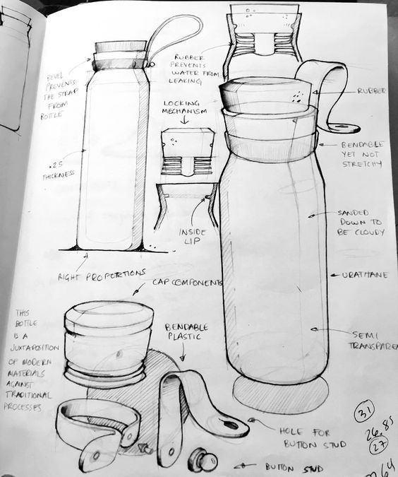 """""""A continuation of my water bottle ideation #id #industrial #product #design #sketch #idsketch:"""