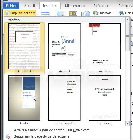 La page de garde reflète l'image et le contenu d'un document et invite le lecteur à entrer dedans. Avec Word 2010, vous pouvez facilement ajouter des pages de garde prédéfinies à vos documents.