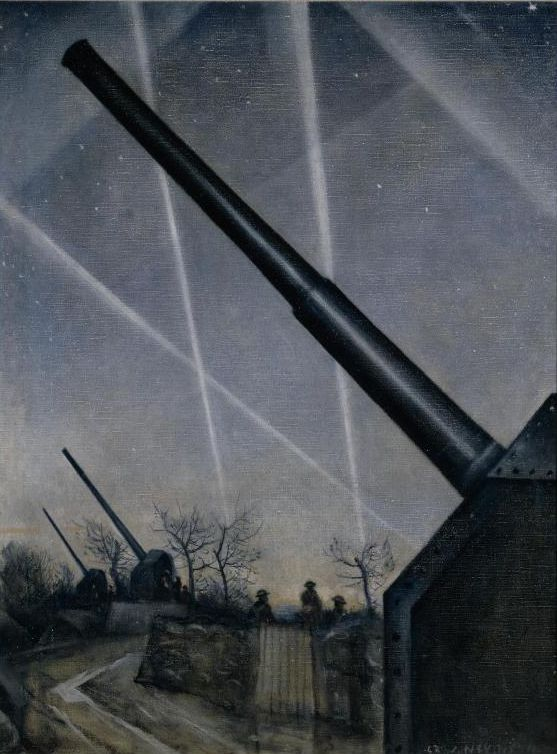 Christopher Richard Wynne Nevinson (British 1889–1946) WWII: View of an anti-aircraft battery set in countryside with searchlight beams crossing the sky and attendant soldiers, 1940.