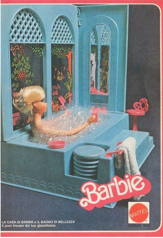 l'antico bagno di Barbie nelle pubblicità sui vecchi numeri di topolino