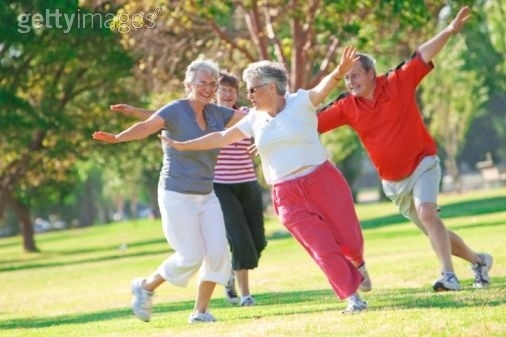 old people playing airplane