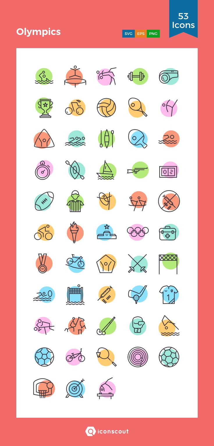 Olympics  Icon Pack - 53 Line Icons