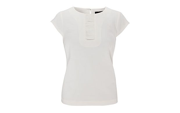 "Basket Weave Tee. ""Great style is all in the detail and this criss-cross T-shirt looks immaculate in cream."""