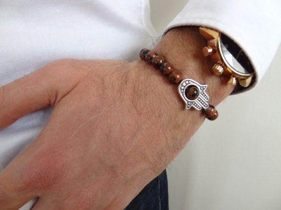 BrownNavy Blue Star Stone Bracelet Men's Jewelry by ClassyMen
