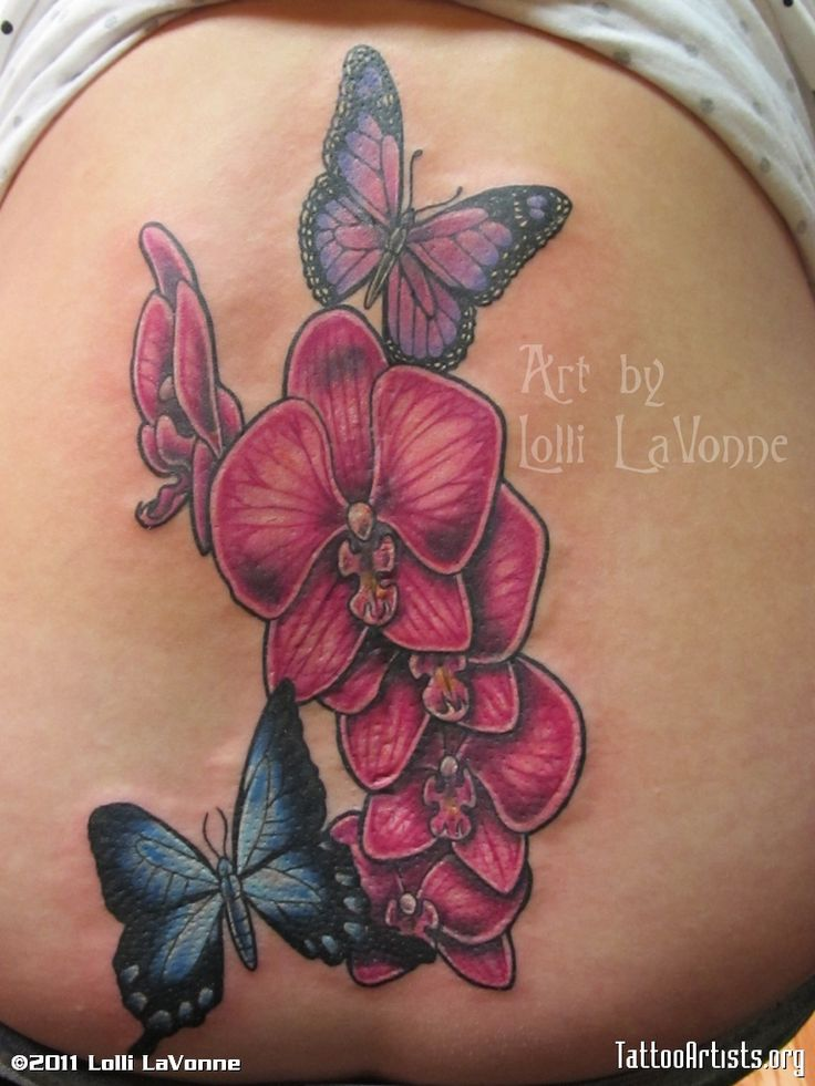 orchid tatoos on ankle | Orchids and butterfliesorchids and butterflies to cover her back ...