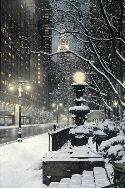 Chrysler Building in the snow. On W. 42nd St. (at Bryant Park) looking east.