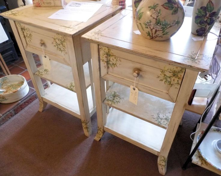 Large bedside tables with cream rose  I now know what to do with those ugly tables
