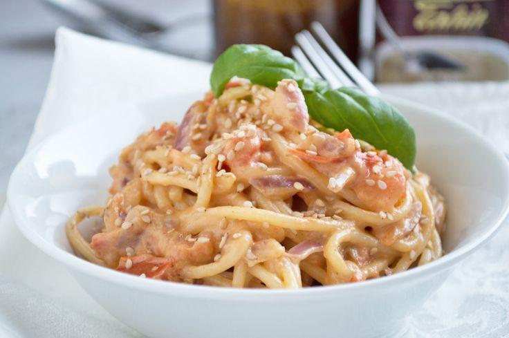 Wer die asiatische Küche mag, wird dieses Rezept für #Sesamnudeln lieben. Schnell und schmackhaft, Sie werden begeistert sein!