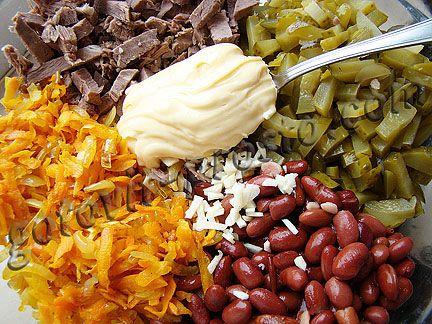 Салат фасоль огурцы крабовое мясо