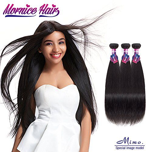 Peruvian Straight Hair,Mornice 10A 3 Bundles 12 inch Virgin Human Hair Weave Extensions for Women Natural Color
