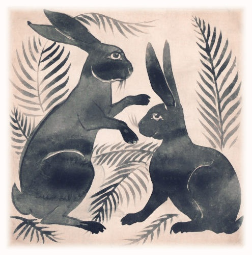 hares - ceramic tile - william de morgan