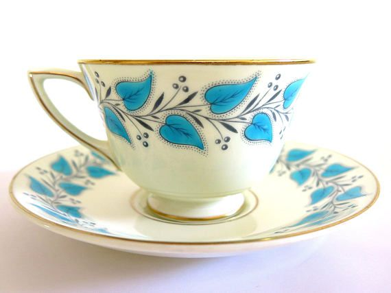 Vintage Royal Doulton Tea Cup Coventry Blue Turquoise Leaves