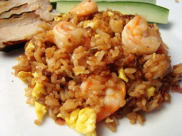 Fried Rice:  3 eggs salt  2 tsp sesame oil 1/4 c vegetable oil 2 c cooked rice 1 tsp finely chopped ginger (or ginger paste) 1 small onion, chopped 3 ounces smoked deli ham, chopped 1/2 lb. medium, uncooked shrimp, peeled and deveined 2 teaspoons rice vinegar 1/2 teaspoon sugar 1-2 tablespoon soy sauce