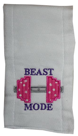 Beast Mode burp cloth-baby burp cloth, personalized burp cloth, crossfit baby, crossfit burp cloth, kettlebell burp cloth, weights burp cloth, baby weights, baby crossfit onesie, baby crossfit burp cloth, baby beast mode