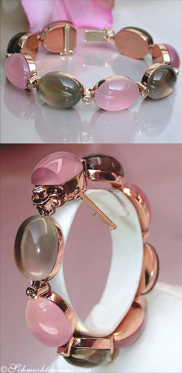 Rose Quarz & Smoky Topaz Diamond Bracelet, 116,11 ct. RG18K - Visit: schmucktraeume.com