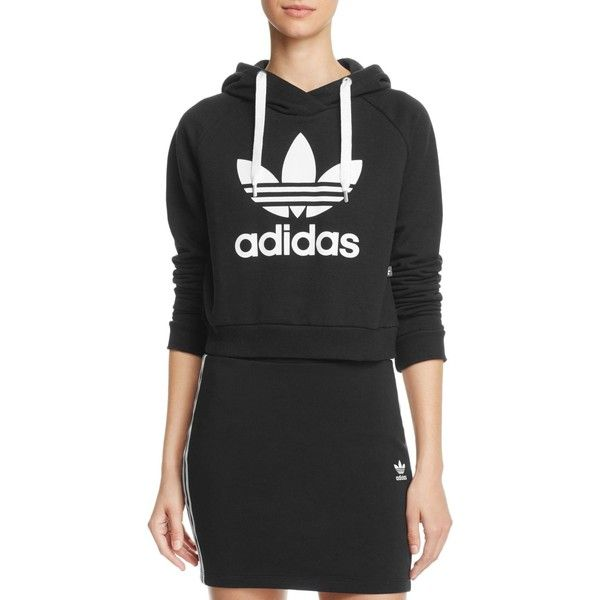 adidas Originals Trefoil Cropped Hoodie ($64) ❤ liked on Polyvore featuring tops, hoodies, black, cut-out crop tops, cropped hooded sweatshirt, hooded sweatshirt, cropped hoodie and sweatshirt hoodies