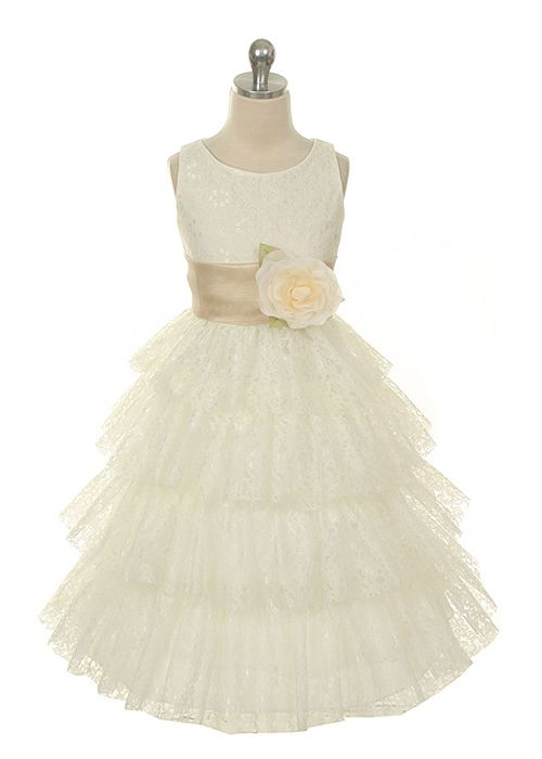 Ivory Lace Layered Girl Dress with Choice of Sash