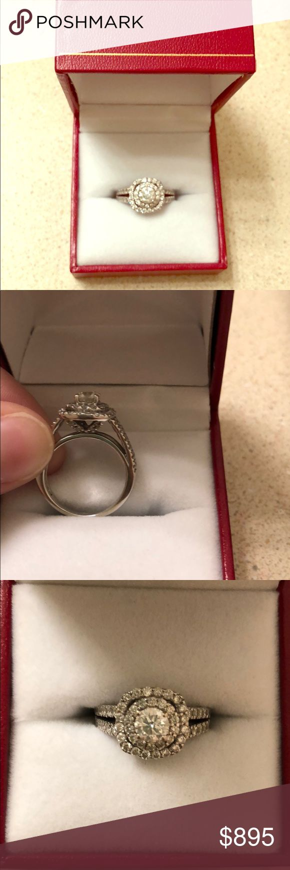 Diamond engagement ring Engagement ring from sales. Have original receipt showing what I paid. As is. Size 4.5 I believe or 4.75 but you can take it and get it resizes. Huge discount just want gone. Middle stone is .50 carat and total ring is 1.5 carats. 14ct gold with diamonds. Major steal for the price. Zales Jewelry Rings #zalesengagementrings
