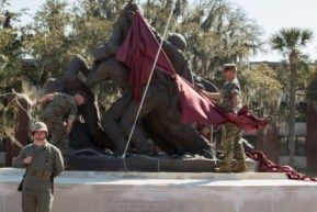 Marines of Headquarters and Service Battalion unveil the iconic Iwo Jima statue March 14, 2016, on Parris Island. (Photo by Sgt. Jennifer Schubert)