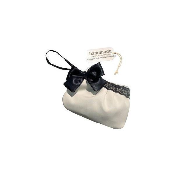 BORSA donna POCHETTE nera beige RASO e PIZZO elegante SERA cerimonia... found on Polyvore