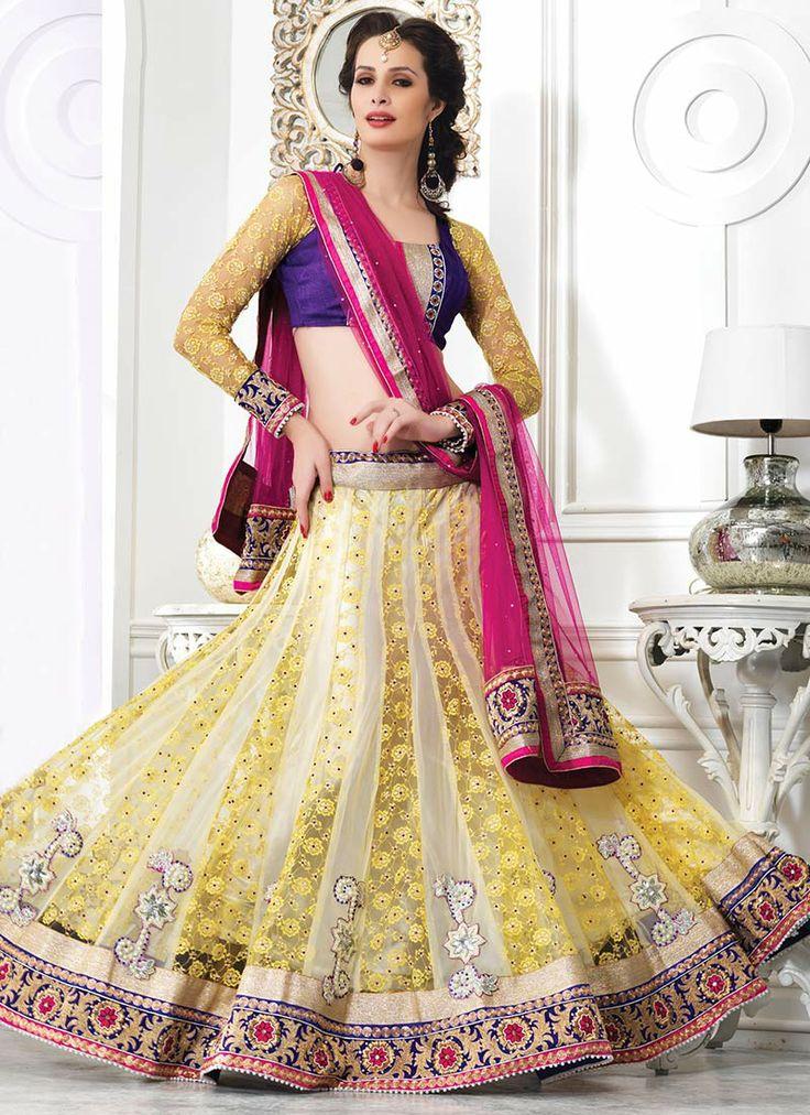 Beautiful Appliqued Net A Line Lehenga Choli