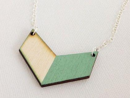 Wooden Chevron Necklace - Mint Wood Mini