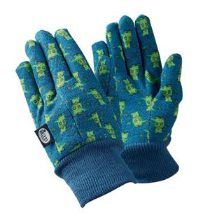 little gardeners can get down and dirty in the backyard with these protective gloves featuring a dynamic dinosaur pattern