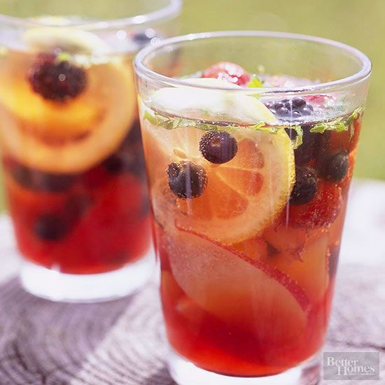 Honey + green tea bags + water + assorted fresh fruit + sparkling water + fresh…