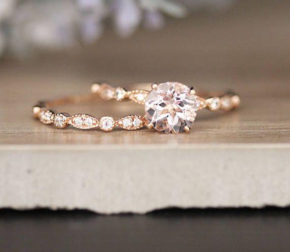 Pink Morganite Rose Gold Engagement Ring, 10k Rose Gold and Diamond Band, Bridal Ring Set, Diamond Milgrain Band, Promise Ring, Diamond Ring – Dilem Yakup
