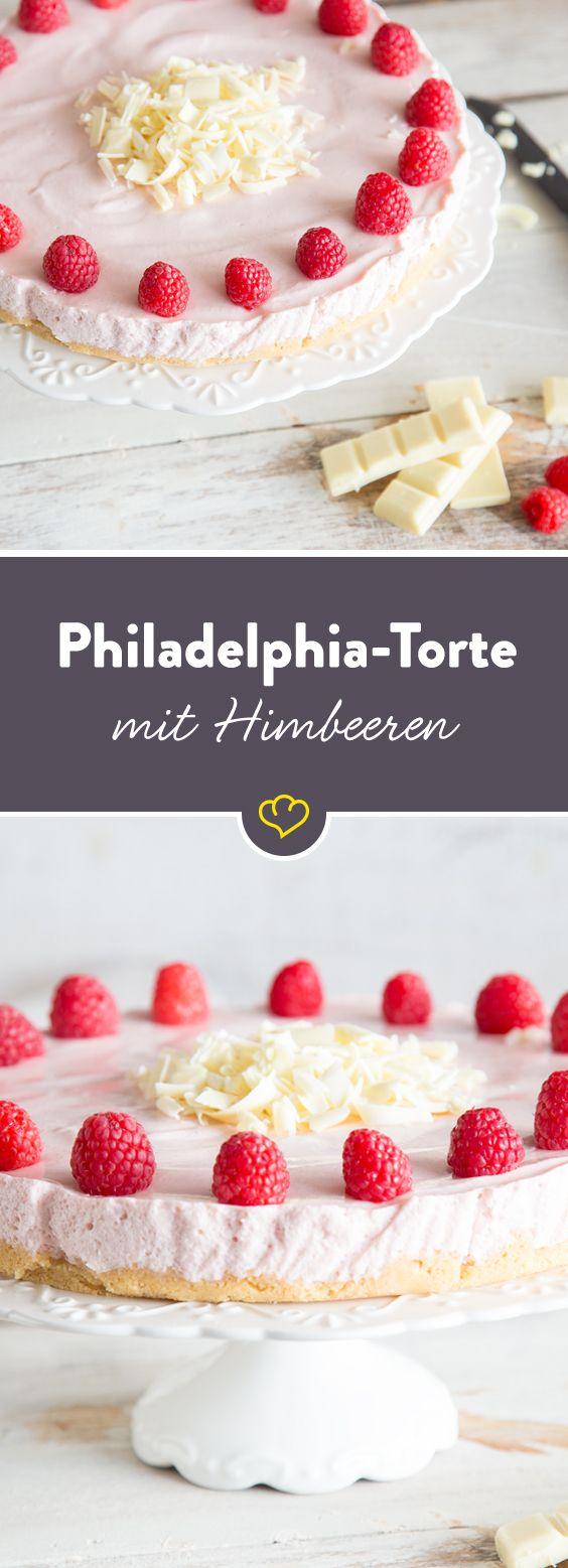 Deine Himbeeren schmecken noch besser, wenn du sie mit weißer Schokolade genießt. Und mit Frischkäse. Und Joghurt. Als Philadelphia-Torte eben.