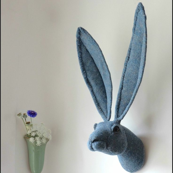Blue Harris tweed handmade hare wall sculpture. Faux taxidermy Characters by Julia.