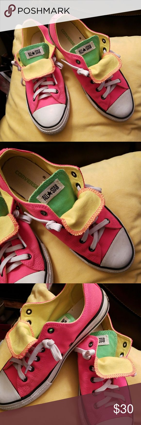 CONVERSE DOUBLE TONGUE SNEAKERS Neon pink sneakers with green and yellow tongue. Excellent pre owned condition. Size says 8 but fits more like 8.5 Converse Shoes Sneakers