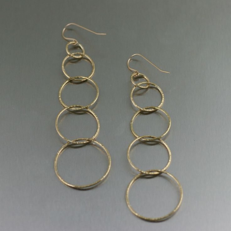 Chased Gold Chandelier Chain Link Earrings