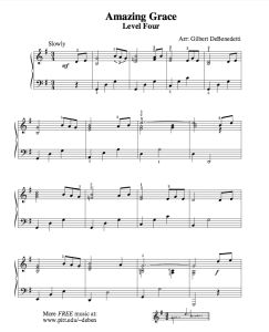Amazing Grace | Free Sheet Music for Easy Piano - https://thepianostudent.wordpress.com/2008/09/07/amazing-grace-sheet-music-for-piano-solo-2-levels/